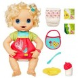 The new My Baby Alive doll is the latest in a long line of interactive baby dolls from Baby Alive. Just like a real baby, she eats, drinks her bottle, makes poopy diapers for you to change and – with over 30 phrases – will let you know what she needs, like when it's time for a nap or a...